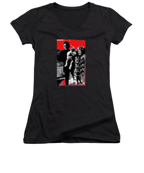 Women's V-Neck T-Shirt (Junior Cut) featuring the photograph Cash Family In Red Old Tucson Arizona 1971-2008 by David Lee Guss