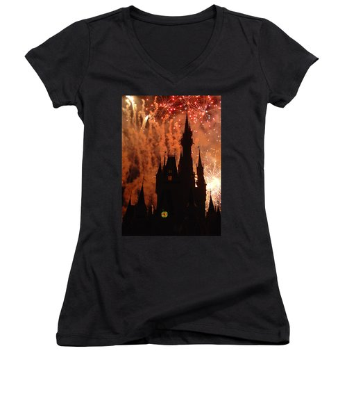 Women's V-Neck T-Shirt (Junior Cut) featuring the photograph Castle Fire Show by David Nicholls