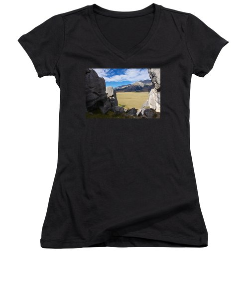 Women's V-Neck T-Shirt (Junior Cut) featuring the photograph Castle Hill #5 by Stuart Litoff