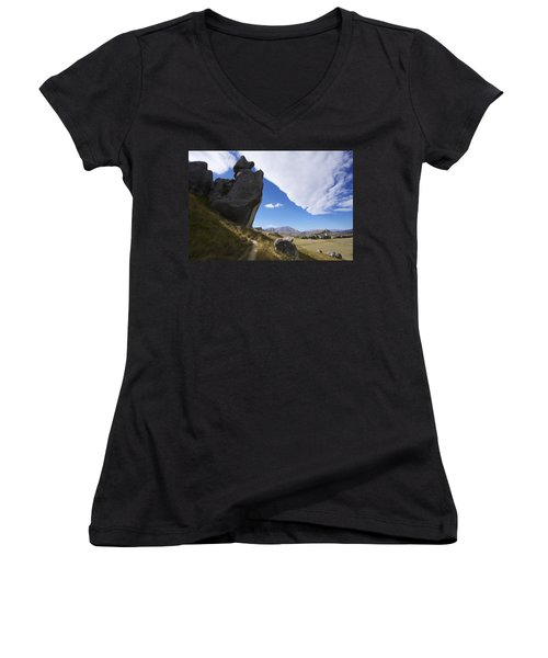 Women's V-Neck T-Shirt (Junior Cut) featuring the photograph Castle Hill #7 by Stuart Litoff