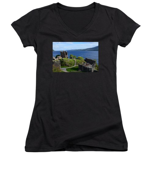 Castle Ruins On Loch Ness Women's V-Neck T-Shirt (Junior Cut) by DejaVu Designs