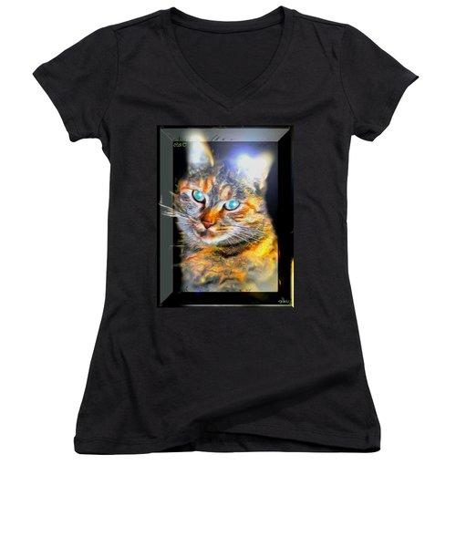 Women's V-Neck T-Shirt (Junior Cut) featuring the digital art Cat by Daniel Janda