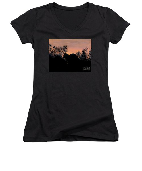 Women's V-Neck T-Shirt (Junior Cut) featuring the drawing Cat - Orange - Silhouette by D Hackett
