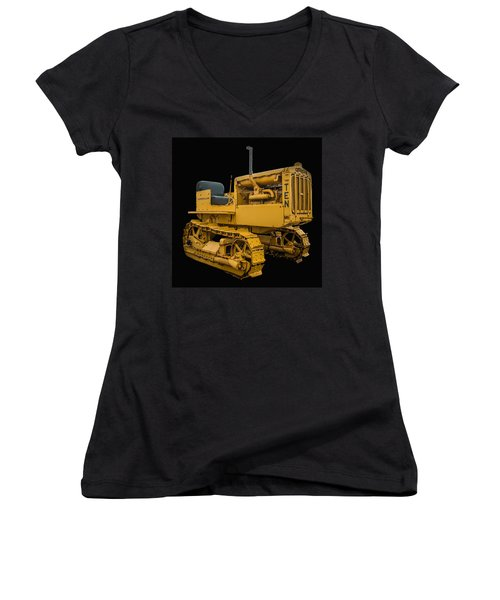Caterpillar Ten Women's V-Neck T-Shirt (Junior Cut) by Paul Freidlund