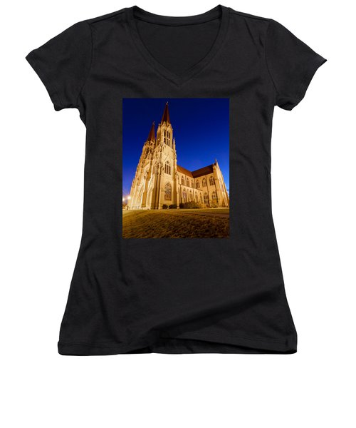 Morning At The Cathedral Of St Helena Women's V-Neck T-Shirt (Junior Cut) by Fran Riley