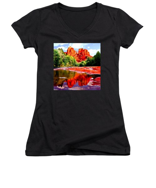 Cathedral Rock Sedona Arizona Women's V-Neck (Athletic Fit)