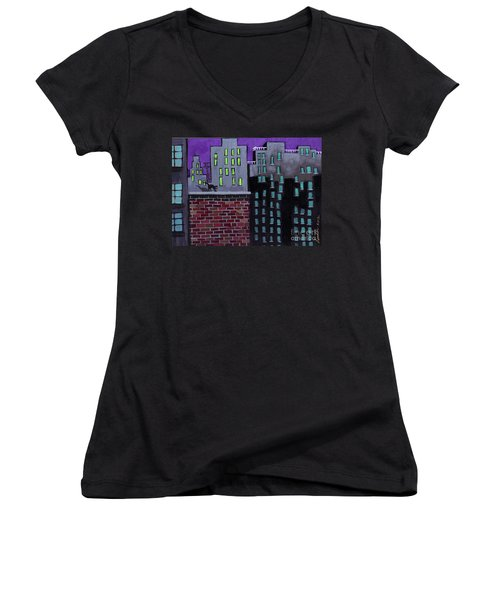 Cat's Night Women's V-Neck T-Shirt