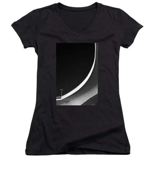 Causeway Arc Clearwater Florida Black And White Women's V-Neck T-Shirt (Junior Cut)