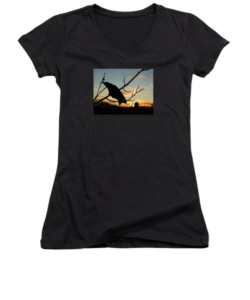 Cawcaw Over Sunset Silhouette Art Women's V-Neck T-Shirt (Junior Cut) by Lesa Fine