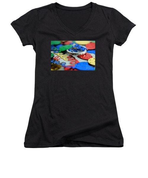 Women's V-Neck T-Shirt (Junior Cut) featuring the digital art Celebrate Love by Margie Chapman