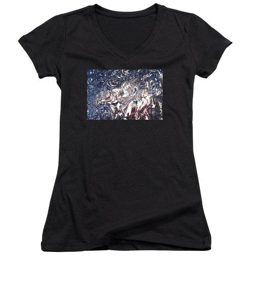 Women's V-Neck T-Shirt (Junior Cut) featuring the digital art Celebration Of Entanglement by Richard Thomas