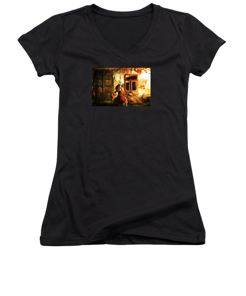 Cellist By Night Women's V-Neck (Athletic Fit)