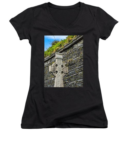 Celtic Cross At Kilmurry-ibrickan Church Women's V-Neck