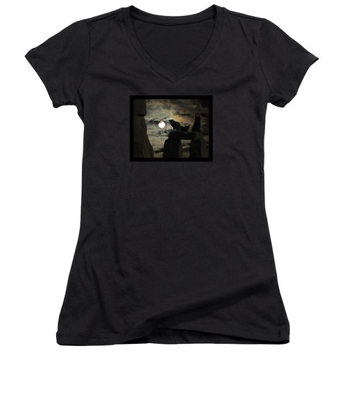 Women's V-Neck T-Shirt (Junior Cut) featuring the photograph Celtic Nights by I'ina Van Lawick