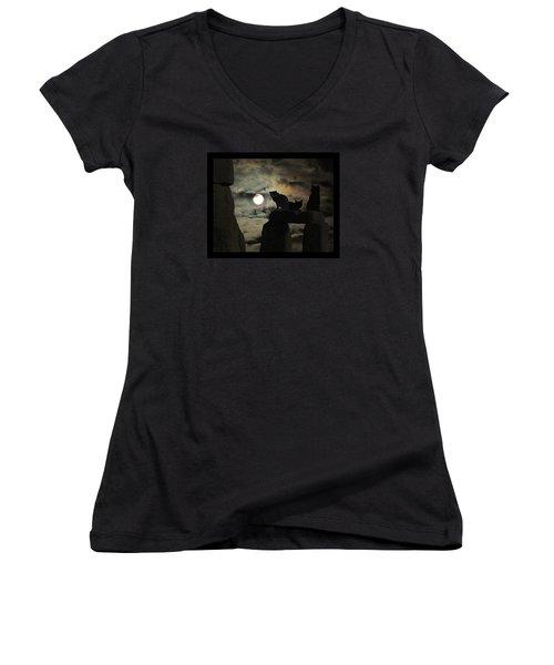 Celtic Nights Women's V-Neck T-Shirt (Junior Cut) by I'ina Van Lawick