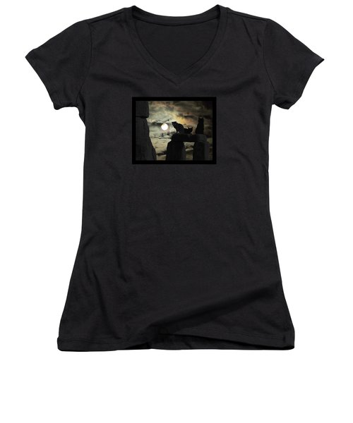 Women's V-Neck T-Shirt (Junior Cut) featuring the photograph Celtic Nights Selective Coloring by I'ina Van Lawick