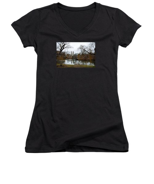 Central Park And San Remo Building In The Background Women's V-Neck T-Shirt (Junior Cut) by RicardMN Photography