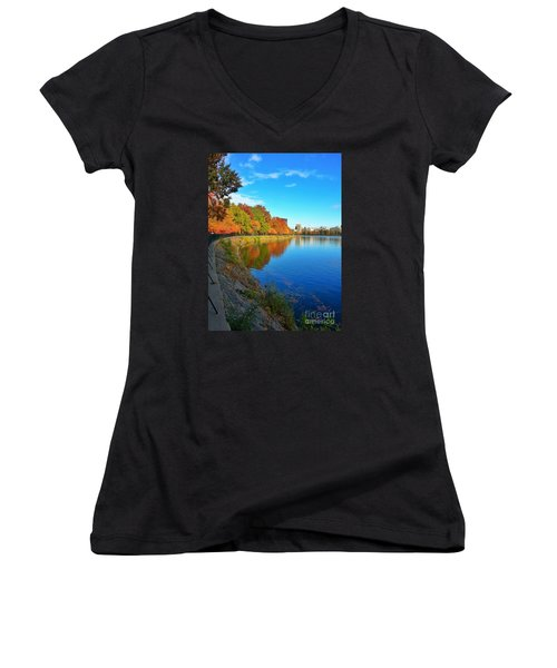 Central Park Autumn Landscape Women's V-Neck (Athletic Fit)