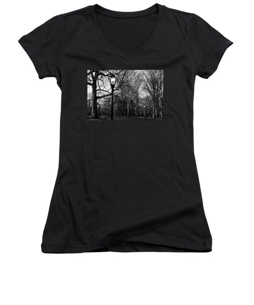 Central Park Streetlamps In Black And White 2 Women's V-Neck (Athletic Fit)