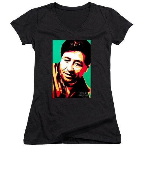 Cesar Chavez Women's V-Neck T-Shirt