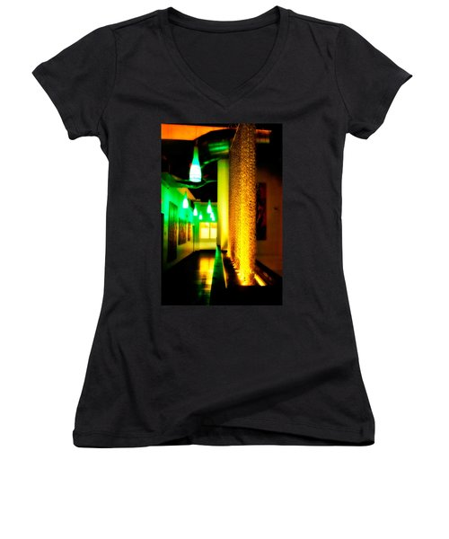 Chain Lighting Women's V-Neck T-Shirt (Junior Cut) by Melinda Ledsome