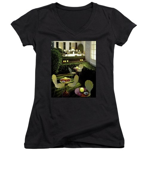 Chairs And Tables In A Garden Women's V-Neck