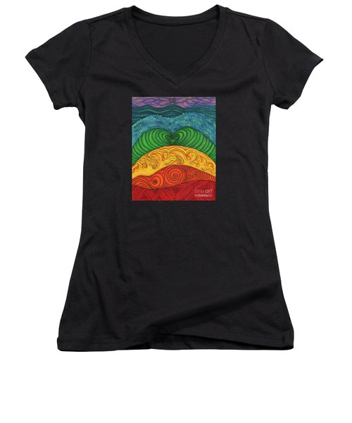 Women's V-Neck T-Shirt (Junior Cut) featuring the painting Chakra Ascension by Deborha Kerr