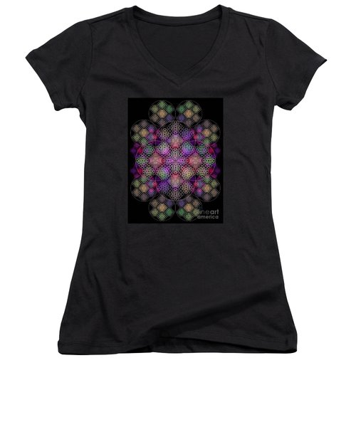 Chalice Cell Rings On Black Dk29 Women's V-Neck T-Shirt (Junior Cut) by Christopher Pringer