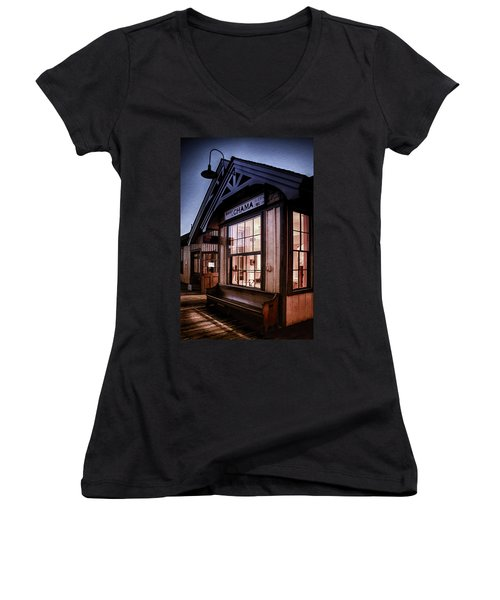 Women's V-Neck T-Shirt (Junior Cut) featuring the photograph Chama Train Station by Priscilla Burgers