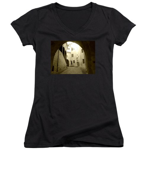 Women's V-Neck T-Shirt (Junior Cut) featuring the photograph Chambery France Gate by Katie Wing Vigil