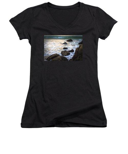 Women's V-Neck T-Shirt (Junior Cut) featuring the photograph Chanteiro Beach Galicia Spain by Pablo Avanzini