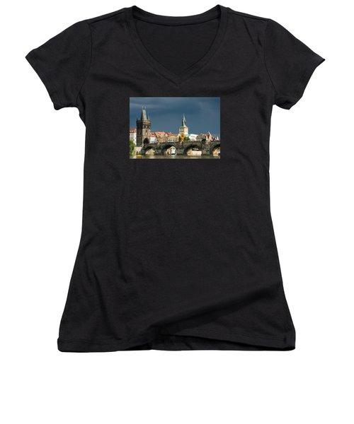 Charles Bridge Prague Women's V-Neck T-Shirt (Junior Cut) by Matthias Hauser