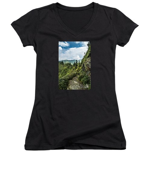 Women's V-Neck T-Shirt (Junior Cut) featuring the photograph Charlies Bunion Trail by Debbie Green