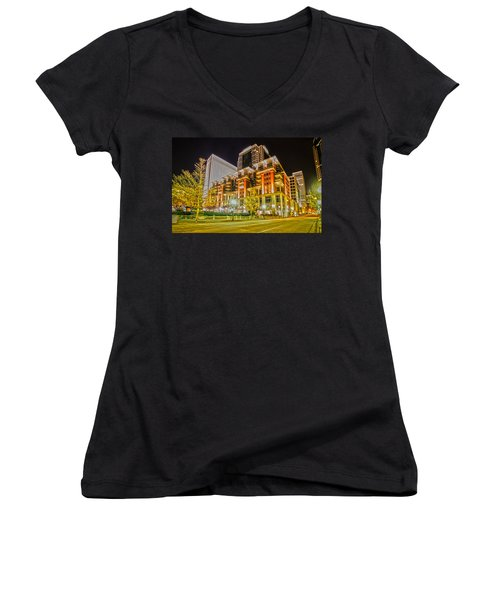 Charlotte City Skyline Night Scene Women's V-Neck T-Shirt