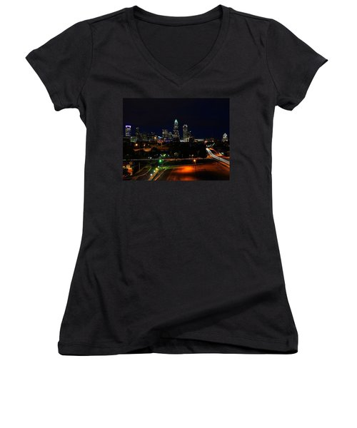 Charlotte Nc At Night Women's V-Neck (Athletic Fit)