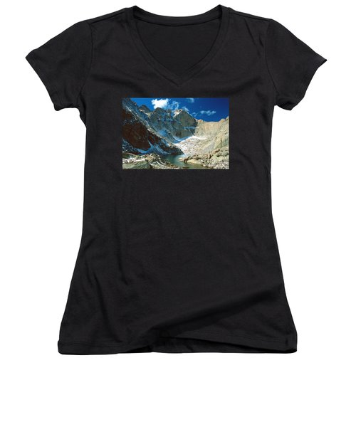 Chasm Lake Women's V-Neck T-Shirt (Junior Cut) by Eric Glaser