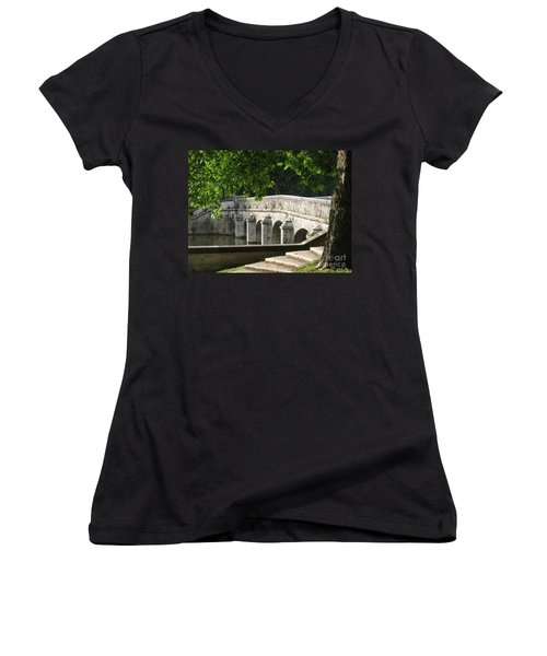 Women's V-Neck T-Shirt (Junior Cut) featuring the photograph Chateau Chambord Bridge by HEVi FineArt