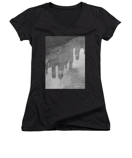 Women's V-Neck T-Shirt (Junior Cut) featuring the photograph Chateau Chambord Reflection by HEVi FineArt