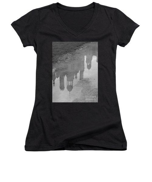 Chateau Chambord Reflection Women's V-Neck T-Shirt (Junior Cut) by HEVi FineArt