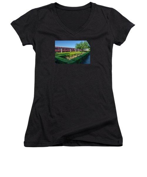 Women's V-Neck T-Shirt (Junior Cut) featuring the photograph Chattanooga Choo Choo 2 by Susan  McMenamin