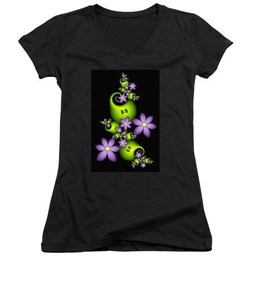 Women's V-Neck T-Shirt (Junior Cut) featuring the digital art Cheerful by Gabiw Art
