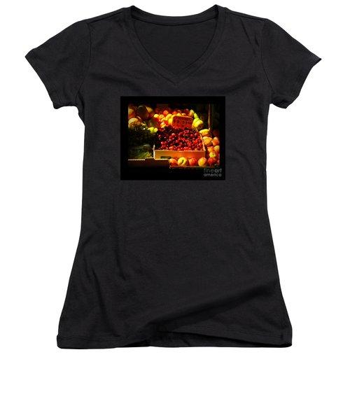 Women's V-Neck T-Shirt (Junior Cut) featuring the photograph Cherries 299 A Pound by Miriam Danar