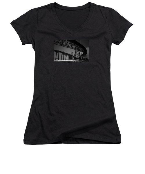 Chesapeake Bay Bridge At Annapolis Women's V-Neck T-Shirt (Junior Cut) by Skip Willits
