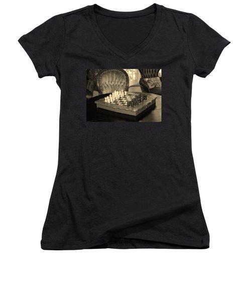 Chess Game Women's V-Neck T-Shirt (Junior Cut) by Cynthia Guinn
