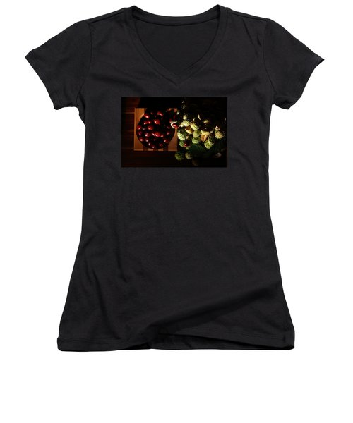 Women's V-Neck T-Shirt (Junior Cut) featuring the photograph Chestnuts by David Andersen