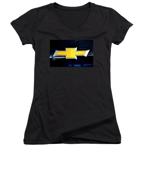 Chevy Bowtie Camaro Black Yellow Iphone Case Mancave Women's V-Neck T-Shirt
