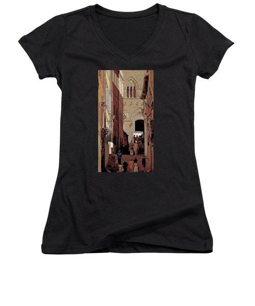 Chiaroscuro Siena  Women's V-Neck T-Shirt (Junior Cut) by Ira Shander