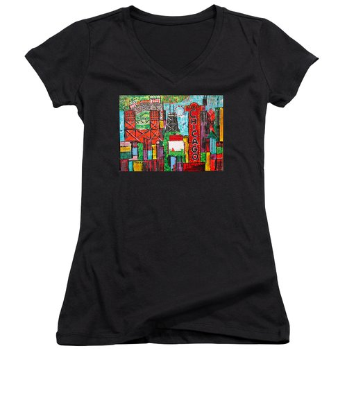 Chicago - City Of Fun - Sold Women's V-Neck T-Shirt (Junior Cut) by George Riney