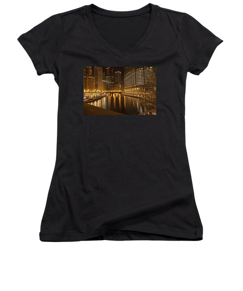 Women's V-Neck T-Shirt (Junior Cut) featuring the photograph Chicago At Night by Daniel Sheldon