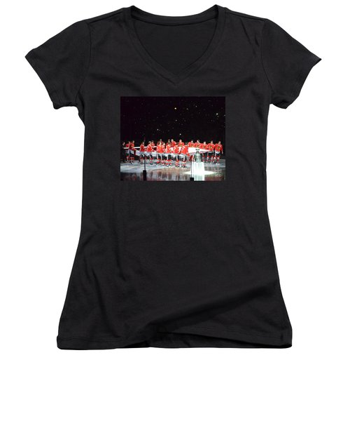 Chicago Blackhawks And The Banner Women's V-Neck T-Shirt (Junior Cut) by Melissa Goodrich